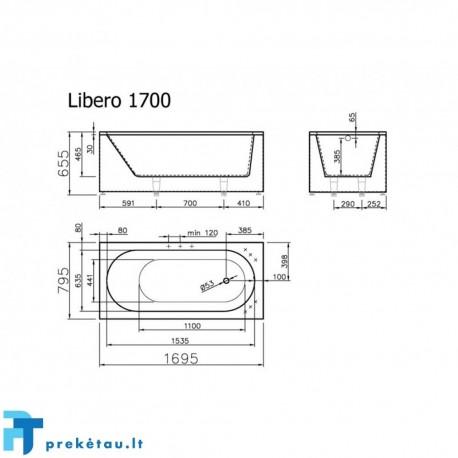 LIBERO170 vonios, U formos fasadinis skydas