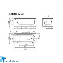 LIBERO 170 vonios, L formos fasadinis skydas