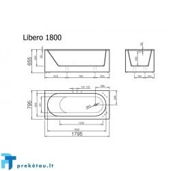 LIBERO 180 vonios, U formos fasadinis skydas