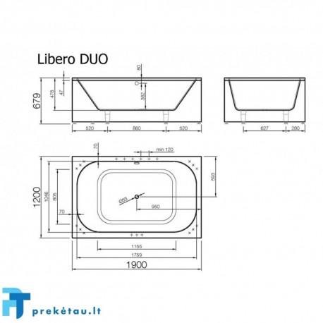 LIBERO DUO vonios, L formos fasadinis skydas