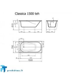 CLASSICA 150 vonios, L formos fasadinis skydas