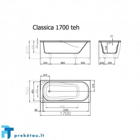 CLASSICA 170 vonios, U formos fasadinis skydas