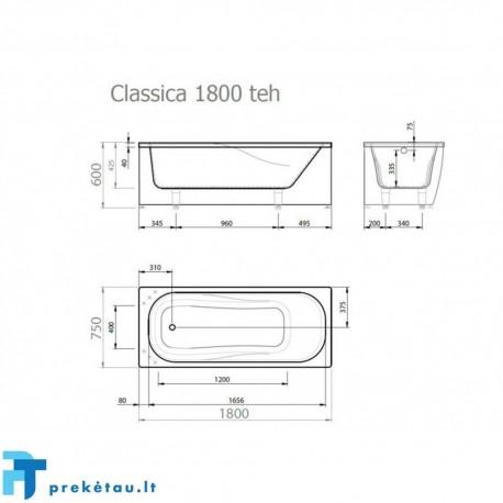 CLASSICA 180 vonios, L formos fasadinis skydas